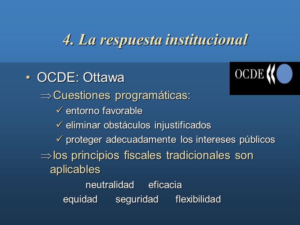 4. La respuesta institucional EmpresarioEmpresarioEspañaEspaña EEUUEEUU ParticularParticular No IVA EmpresarioEmpresario IVA español B2CB2C IVA (UE) E