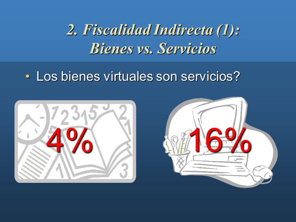 Los bienes virtuales son servicios?Los bienes virtuales son servicios? 2. Fiscalidad Indirecta (1): Bienes vs. Servicios