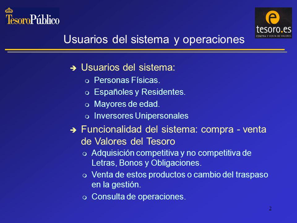 2 Usuarios del sistema y operaciones Usuarios del sistema: Personas Físicas.