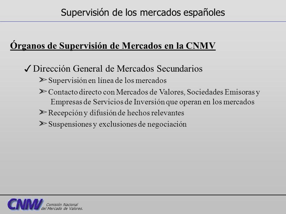 Órganos de Supervisión de Mercados en la CNMV 3Dirección General de Mercados Secundarios ã Supervisión en línea de los mercados ã Contacto directo con