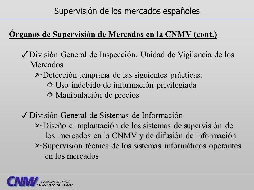 Órganos de Supervisión de Mercados en la CNMV (cont.) 3División General de Inspección. Unidad de Vigilancia de los Mercados ã Detección temprana de la