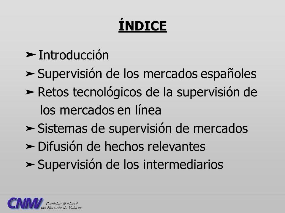 Introducción ä Supervisión de los mercados españoles ä Retos tecnológicos de la supervisión de los mercados en línea ä Sistemas de supervisión de merc