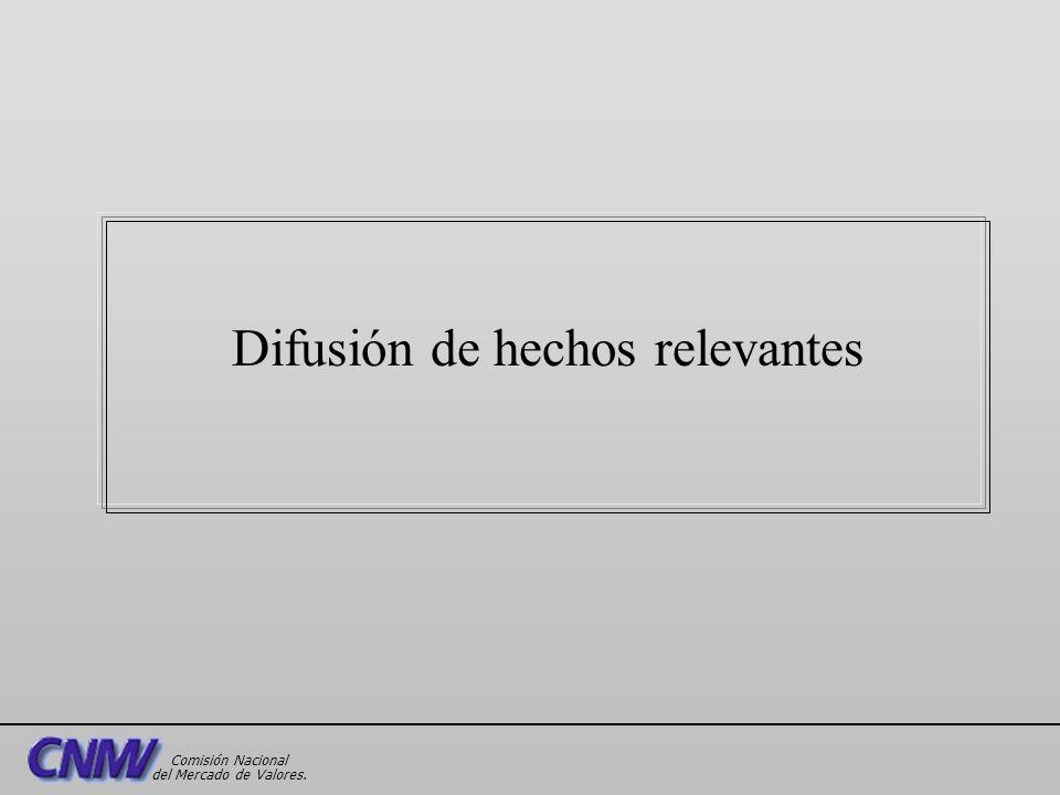 Difusión de hechos relevantes Comisión Nacional del Mercado de Valores.