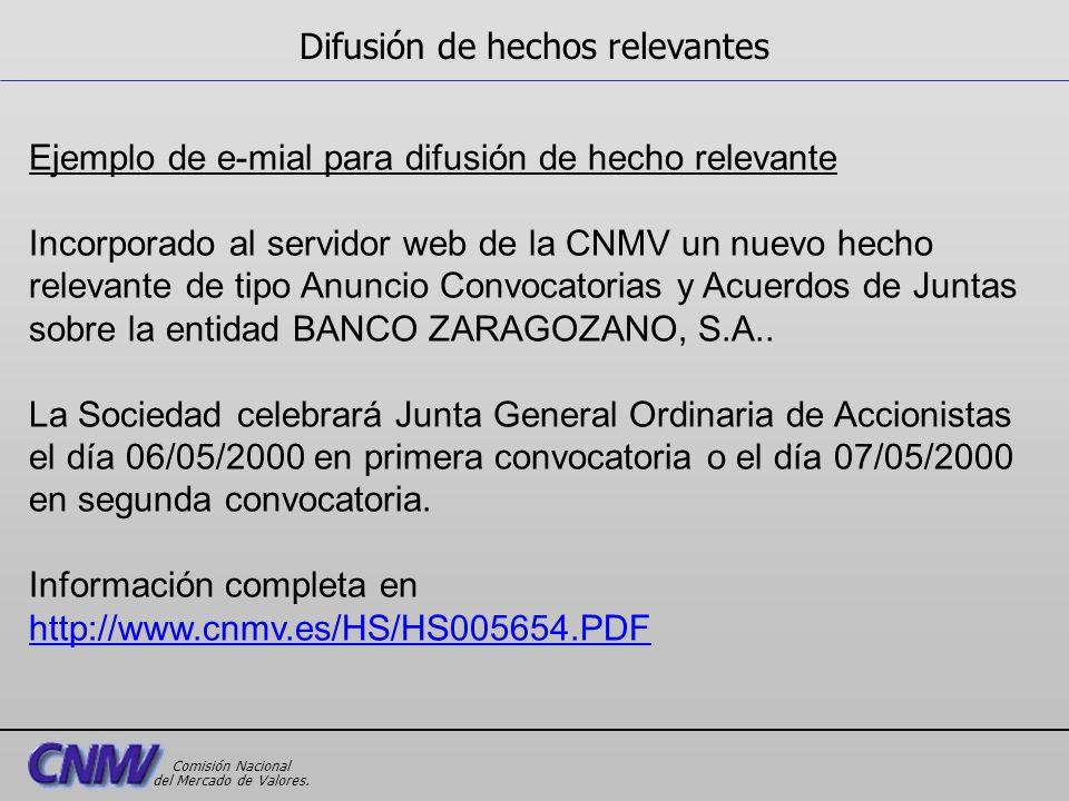 Ejemplo de e-mial para difusión de hecho relevante Incorporado al servidor web de la CNMV un nuevo hecho relevante de tipo Anuncio Convocatorias y Acu