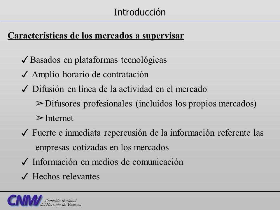 Características de los mercados a supervisar 3Basados en plataformas tecnológicas 3 Amplio horario de contratación 3 Difusión en línea de la actividad