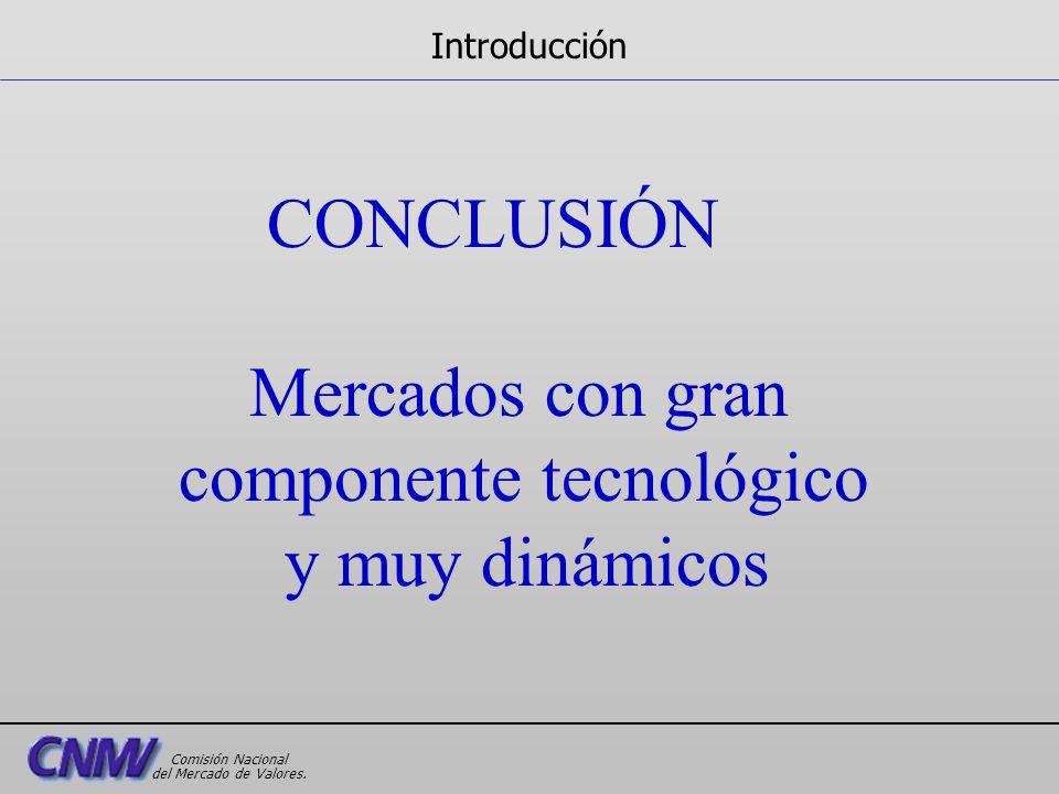 CONCLUSIÓN Mercados con gran componente tecnológico y muy dinámicos Introducción Comisión Nacional del Mercado de Valores.