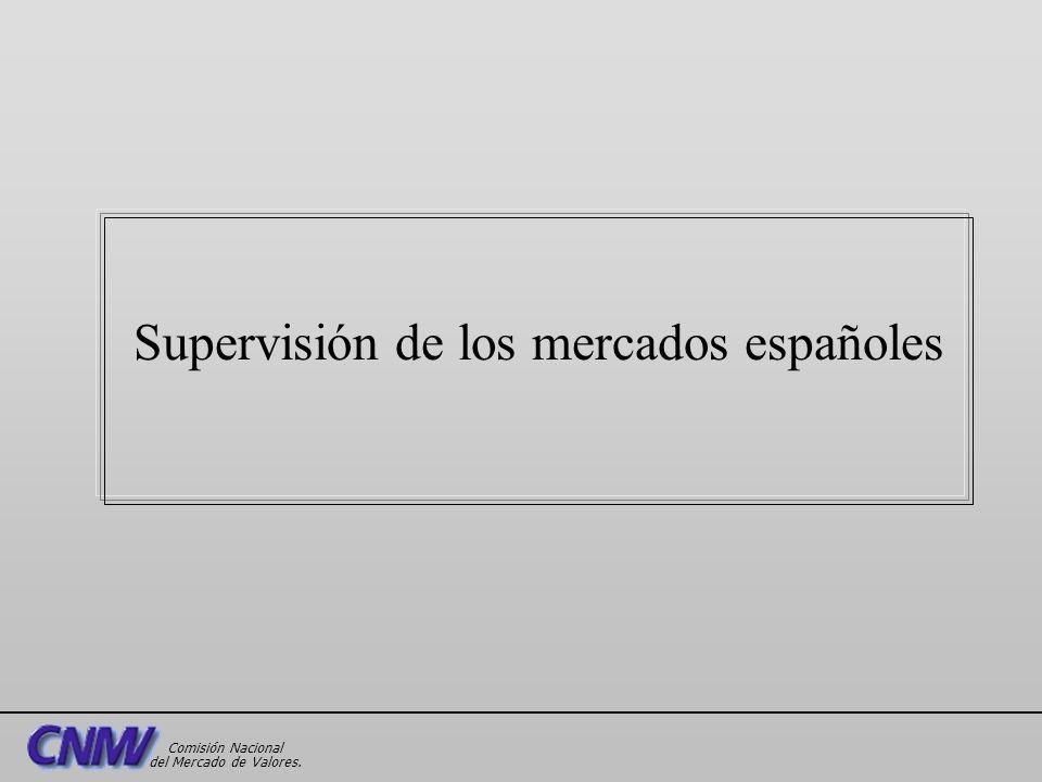 Supervisión de los mercados españoles Comisión Nacional del Mercado de Valores.