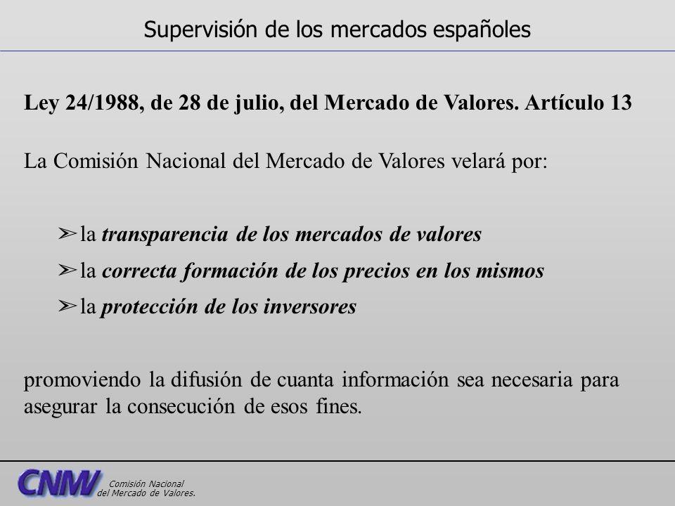 Ley 24/1988, de 28 de julio, del Mercado de Valores. Artículo 13 La Comisión Nacional del Mercado de Valores velará por: ã la transparencia de los mer