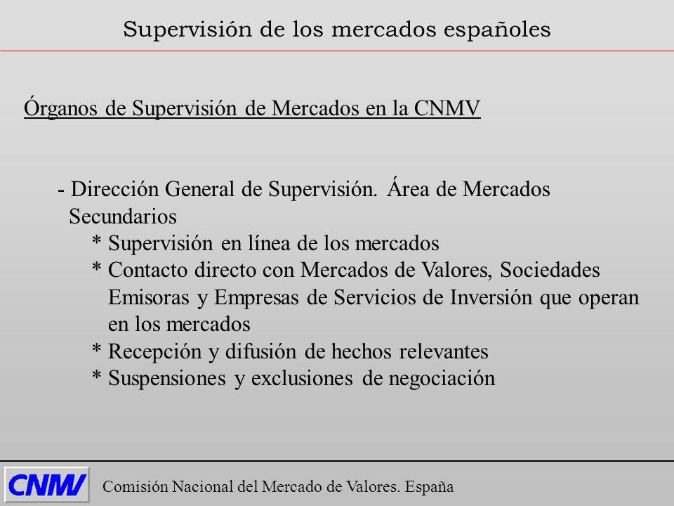 Órganos de Supervisión de Mercados en la CNMV - Dirección General de Supervisión. Área de Mercados Secundarios * Supervisión en línea de los mercados