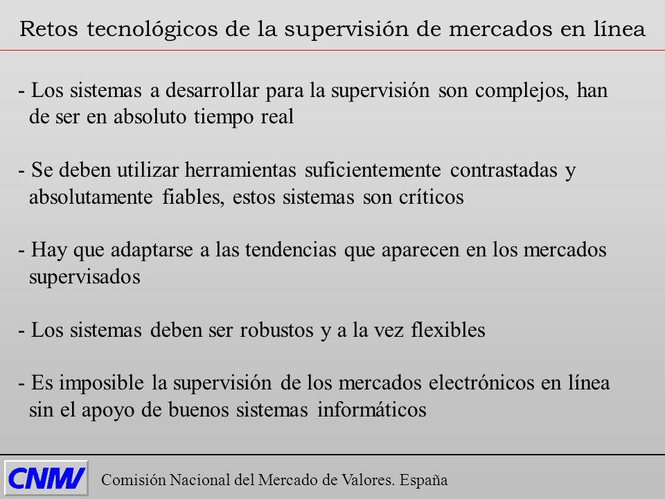 Comisión Nacional del Mercado de Valores. España Retos tecnológicos de la supervisión de mercados en línea - Los sistemas a desarrollar para la superv