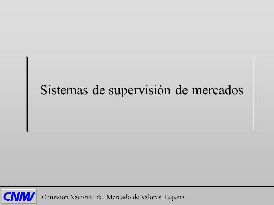 Comisión Nacional del Mercado de Valores. España Sistemas de supervisión de mercados