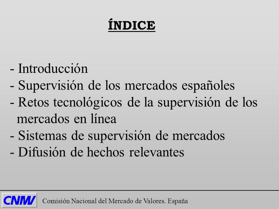 - Introducción - Supervisión de los mercados españoles - Retos tecnológicos de la supervisión de los mercados en línea - Sistemas de supervisión de me
