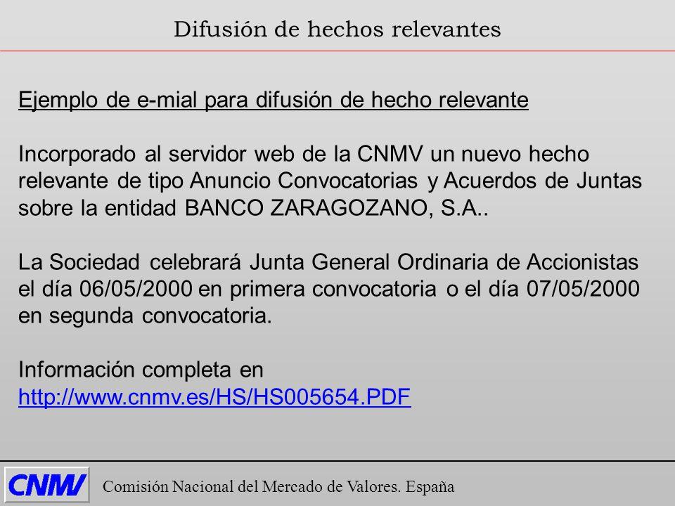 Comisión Nacional del Mercado de Valores. España Difusión de hechos relevantes Ejemplo de e-mial para difusión de hecho relevante Incorporado al servi
