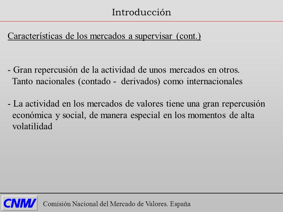 Características de los mercados a supervisar (cont.) - Gran repercusión de la actividad de unos mercados en otros. Tanto nacionales (contado - derivad
