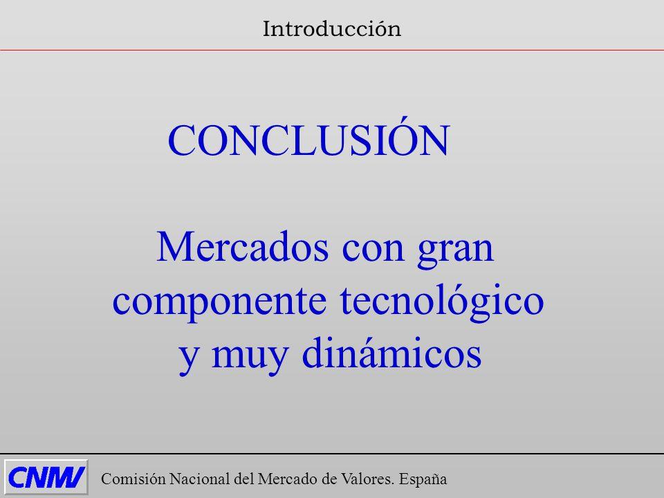 CONCLUSIÓN Mercados con gran componente tecnológico y muy dinámicos Comisión Nacional del Mercado de Valores. España Introducción