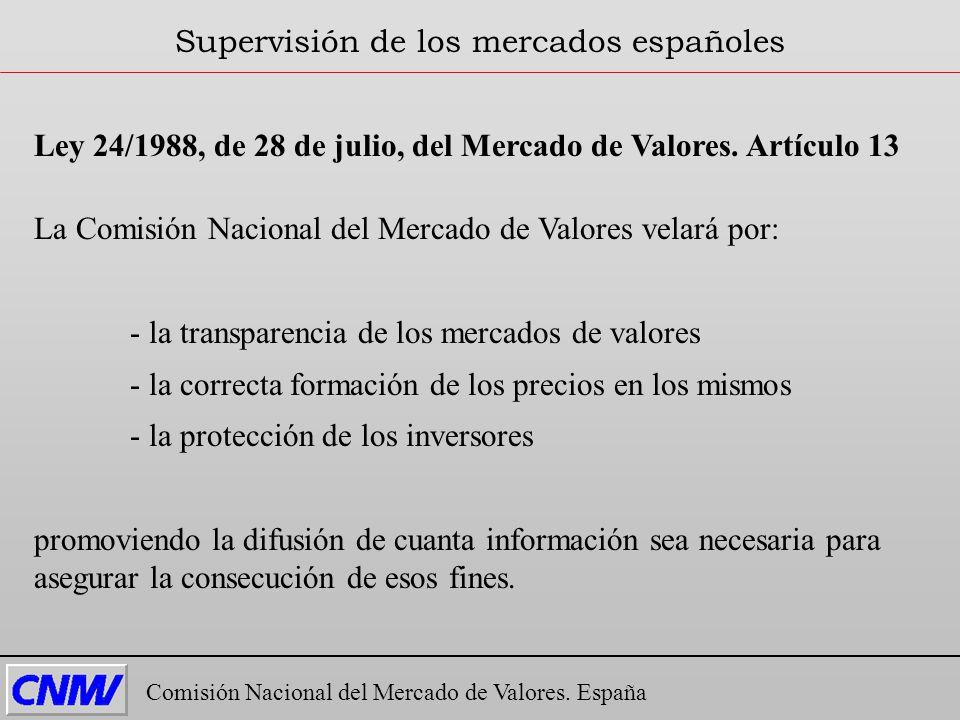 Ley 24/1988, de 28 de julio, del Mercado de Valores. Artículo 13 La Comisión Nacional del Mercado de Valores velará por: - la transparencia de los mer