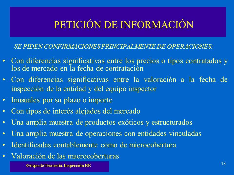 Grupo de Tesorería. Inspección BE 13 PETICIÓN DE INFORMACIÓN SE PIDEN CONFIRMACIONES PRINCIPALMENTE DE OPERACIONES: Con diferencias significativas ent