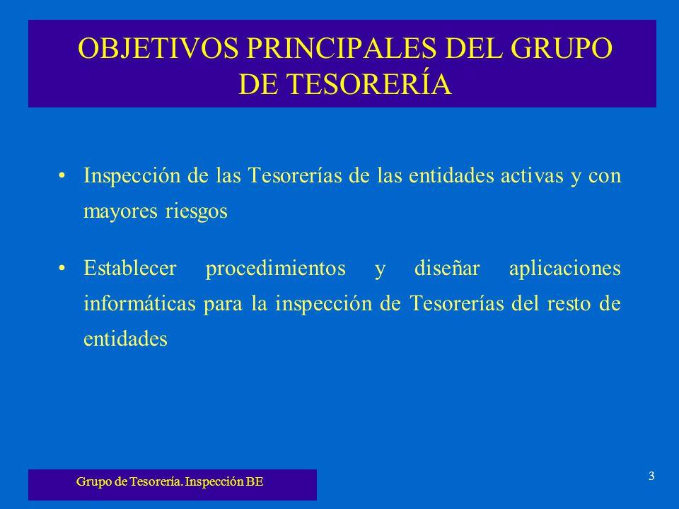 Grupo de Tesorería. Inspección BE 3 OBJETIVOS PRINCIPALES DEL GRUPO DE TESORERÍA Inspección de las Tesorerías de las entidades activas y con mayores r