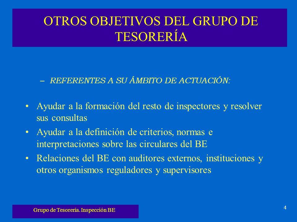 Grupo de Tesorería. Inspección BE 4 OTROS OBJETIVOS DEL GRUPO DE TESORERÍA – REFERENTES A SU ÁMBITO DE ACTUACIÓN: Ayudar a la formación del resto de i