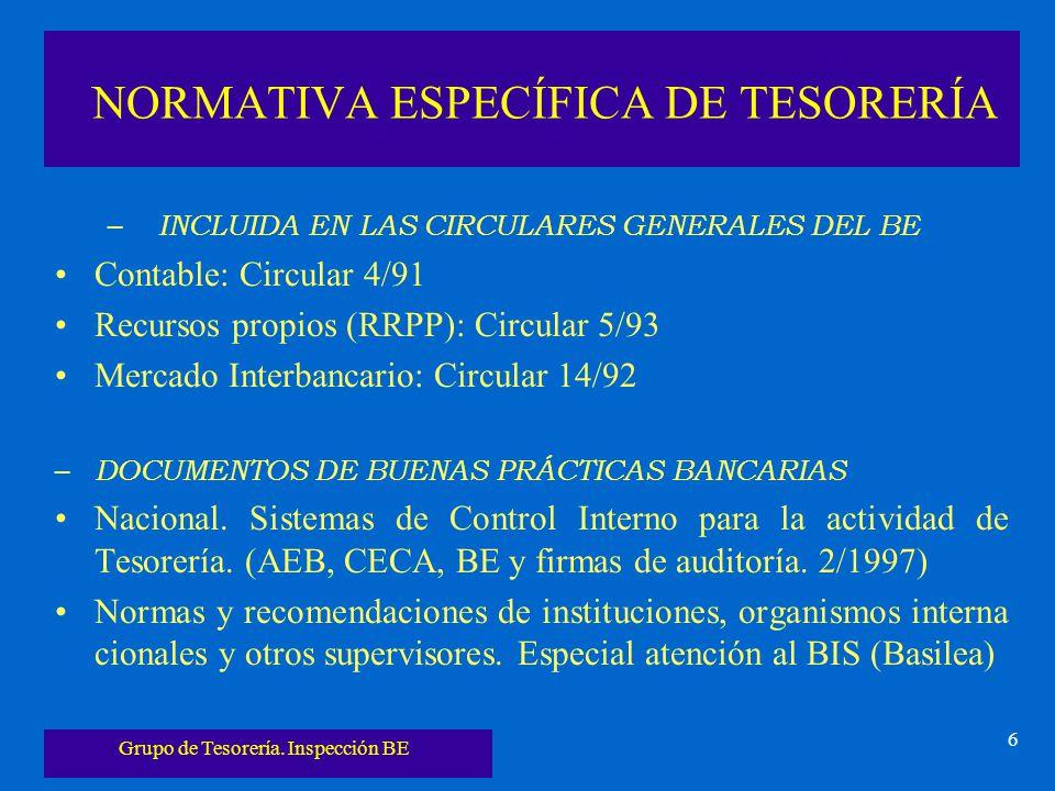 Grupo de Tesorería. Inspección BE 6 NORMATIVA ESPECÍFICA DE TESORERÍA – INCLUIDA EN LAS CIRCULARES GENERALES DEL BE Contable: Circular 4/91 Recursos p