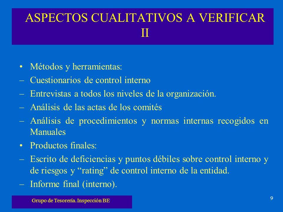 Grupo de Tesorería. Inspección BE 9 ASPECTOS CUALITATIVOS A VERIFICAR II Métodos y herramientas: –Cuestionarios de control interno –Entrevistas a todo