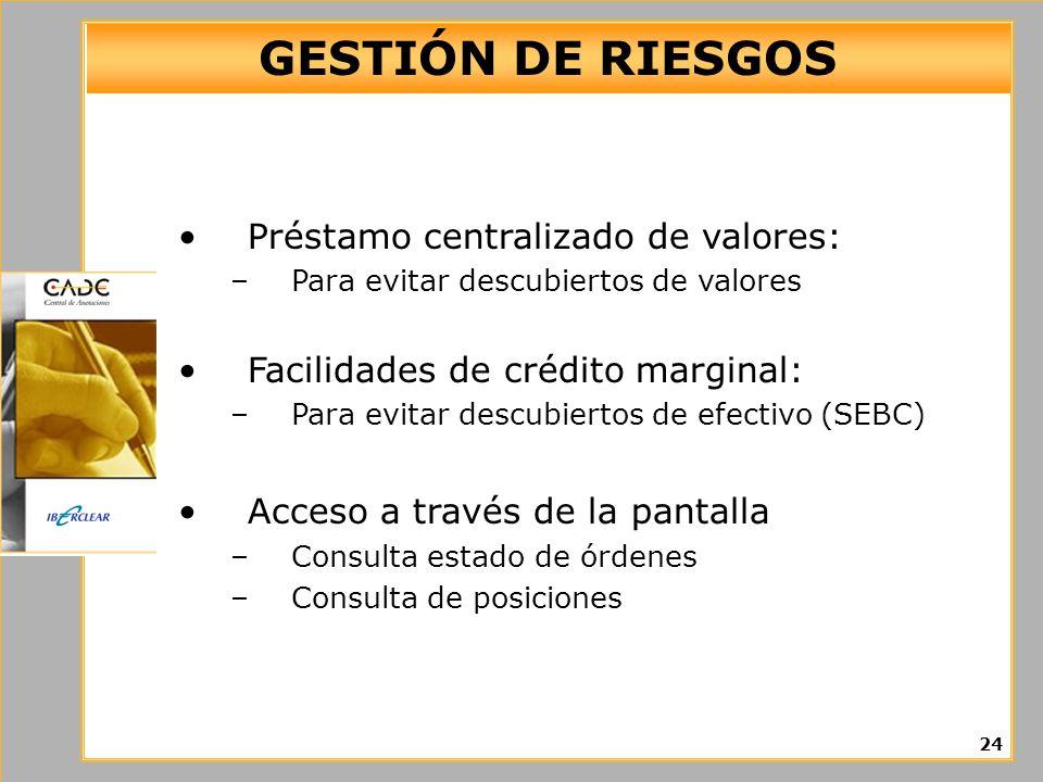 GESTIÓN DE RIESGOS Préstamo centralizado de valores: –Para evitar descubiertos de valores Facilidades de crédito marginal: –Para evitar descubiertos d