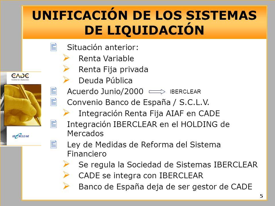 UNIFICACIÓN DE LOS SISTEMAS DE LIQUIDACIÓN 5 Situación anterior: Renta Variable Renta Fija privada Deuda Pública Acuerdo Junio/2000 Convenio Banco de España / S.C.L.V.