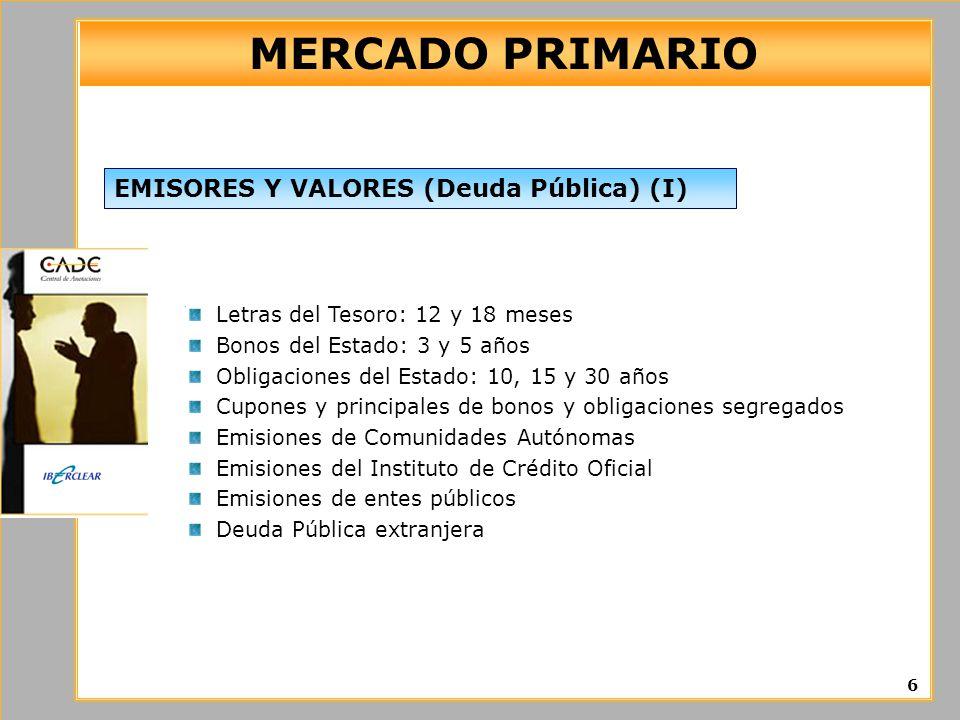 MERCADO PRIMARIO Letras del Tesoro: 12 y 18 meses Bonos del Estado: 3 y 5 años Obligaciones del Estado: 10, 15 y 30 años Cupones y principales de bono
