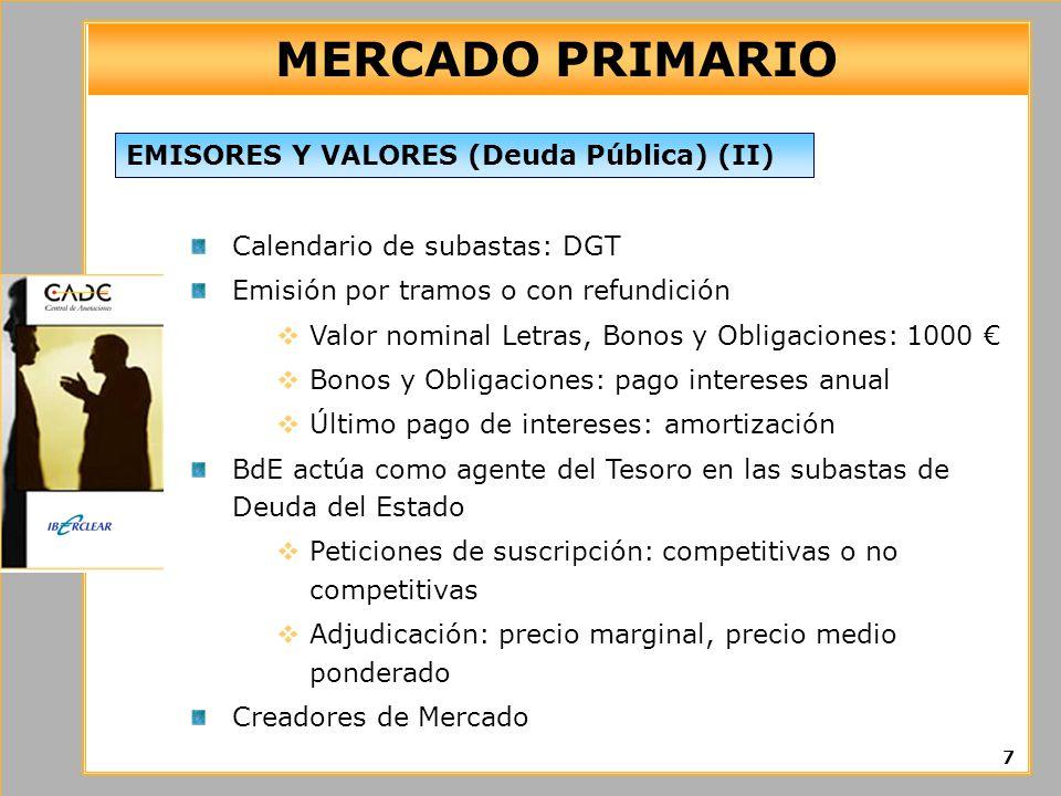 MERCADO PRIMARIO Calendario de subastas: DGT Emisión por tramos o con refundición Valor nominal Letras, Bonos y Obligaciones: 1000 Bonos y Obligacione
