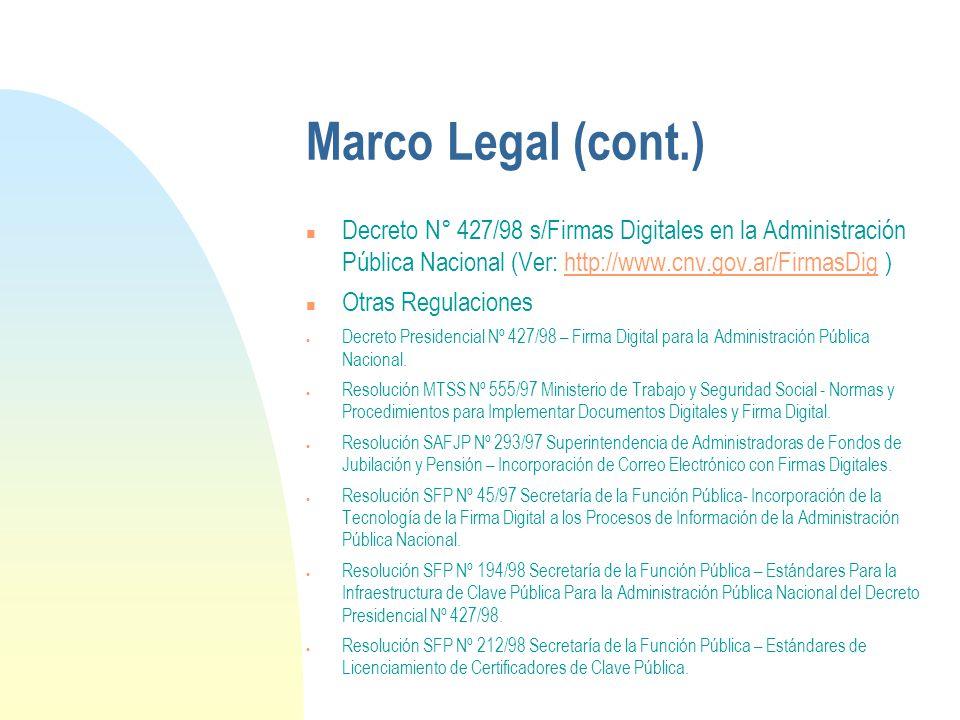 Marco Legal (cont.) n Decreto N° 427/98 s/Firmas Digitales en la Administración Pública Nacional (Ver: http://www.cnv.gov.ar/FirmasDig )http://www.cnv.gov.ar/FirmasDig n Otras Regulaciones Decreto Presidencial Nº 427/98 – Firma Digital para la Administración Pública Nacional.