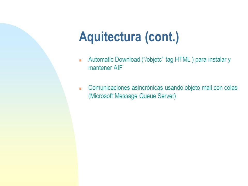 Aquitectura (cont.) n Automatic Download (/objetc tag HTML ) para instalar y mantener AIF n Comunicaciones asincrónicas usando objeto mail con colas (Microsoft Message Queue Server)