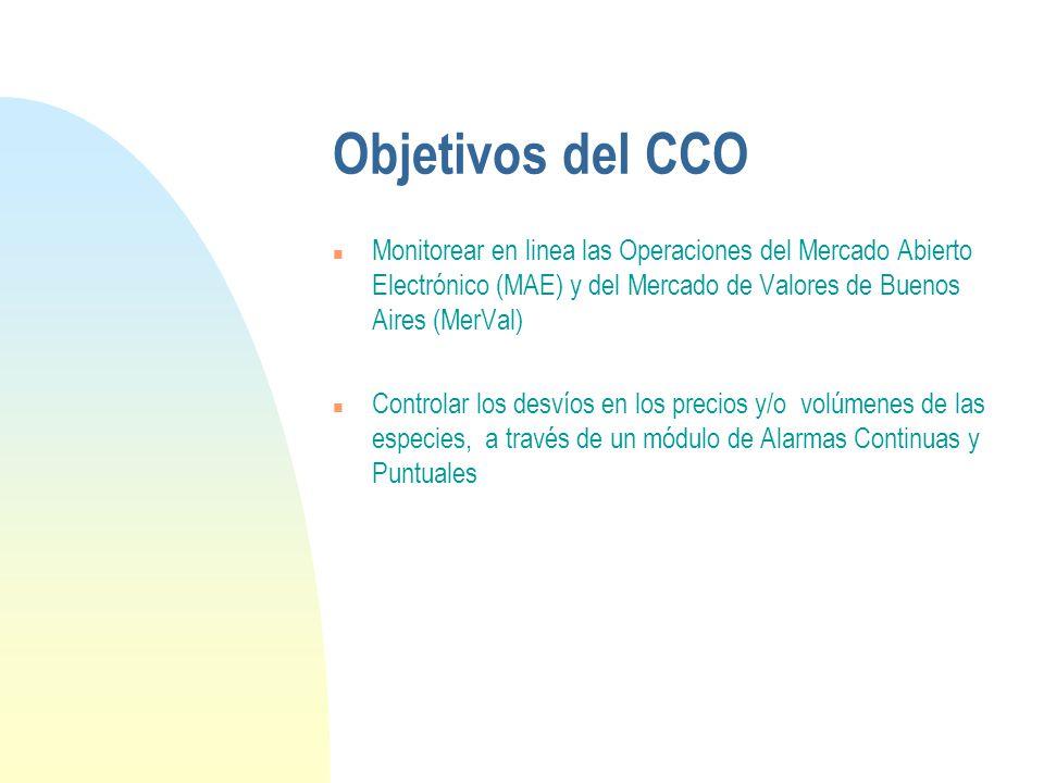 Objetivos del CCO n Monitorear en linea las Operaciones del Mercado Abierto Electrónico (MAE) y del Mercado de Valores de Buenos Aires (MerVal) n Controlar los desvíos en los precios y/o volúmenes de las especies, a través de un módulo de Alarmas Continuas y Puntuales
