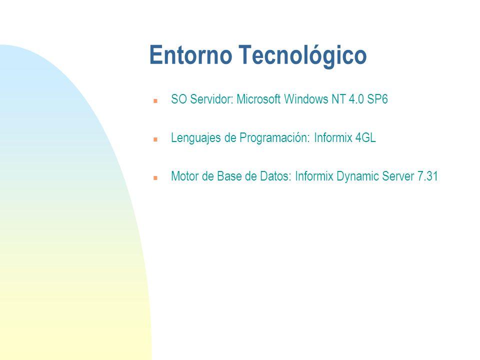 Entorno Tecnológico n SO Servidor: Microsoft Windows NT 4.0 SP6 n Lenguajes de Programación: Informix 4GL n Motor de Base de Datos: Informix Dynamic Server 7.31