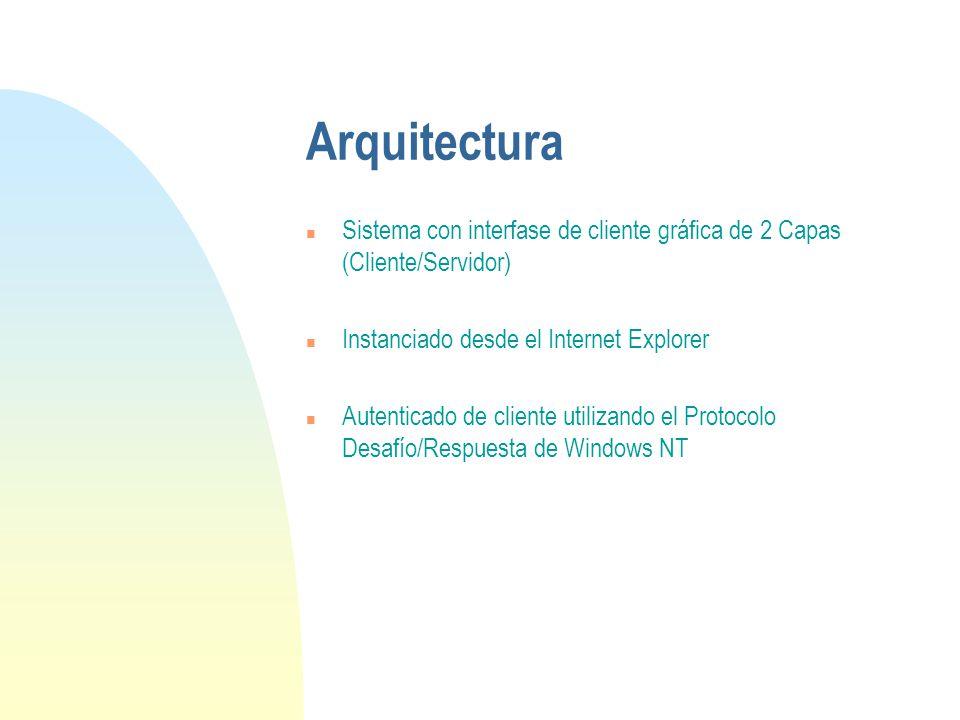 Arquitectura n Sistema con interfase de cliente gráfica de 2 Capas (Cliente/Servidor) n Instanciado desde el Internet Explorer n Autenticado de cliente utilizando el Protocolo Desafío/Respuesta de Windows NT