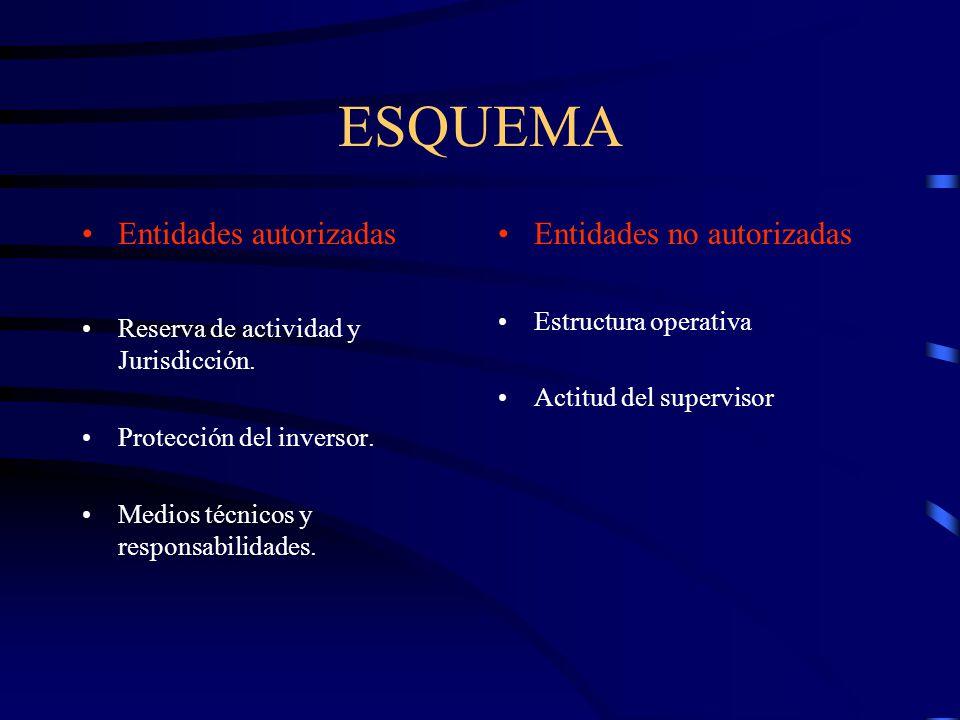ESQUEMA Entidades autorizadas Reserva de actividad y Jurisdicción. Protección del inversor. Medios técnicos y responsabilidades. Entidades no autoriza