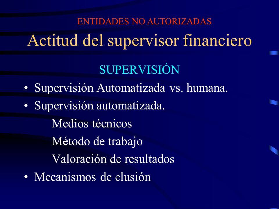 Actitud del supervisor financiero SUPERVISIÓN Supervisión Automatizada vs. humana. Supervisión automatizada. Medios técnicos Método de trabajo Valorac