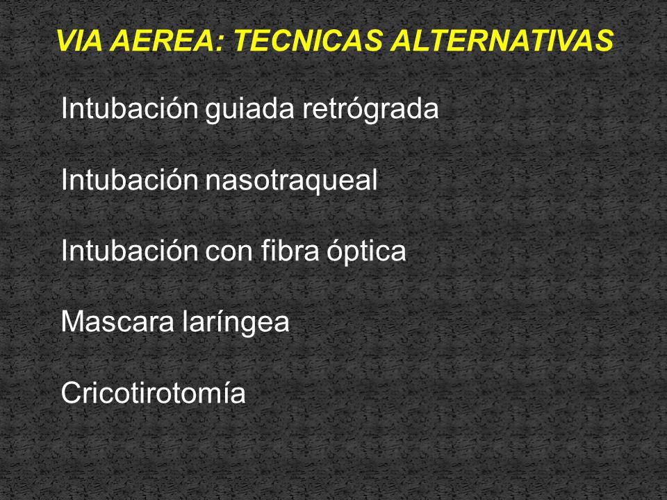 VIA AEREA: TECNICAS ALTERNATIVAS Intubación guiada retrógrada Intubación nasotraqueal Intubación con fibra óptica Mascara laríngea Cricotirotomía