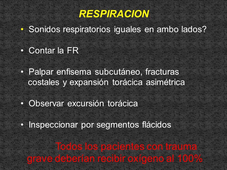 RESPIRACION Sonidos respiratorios iguales en ambo lados.