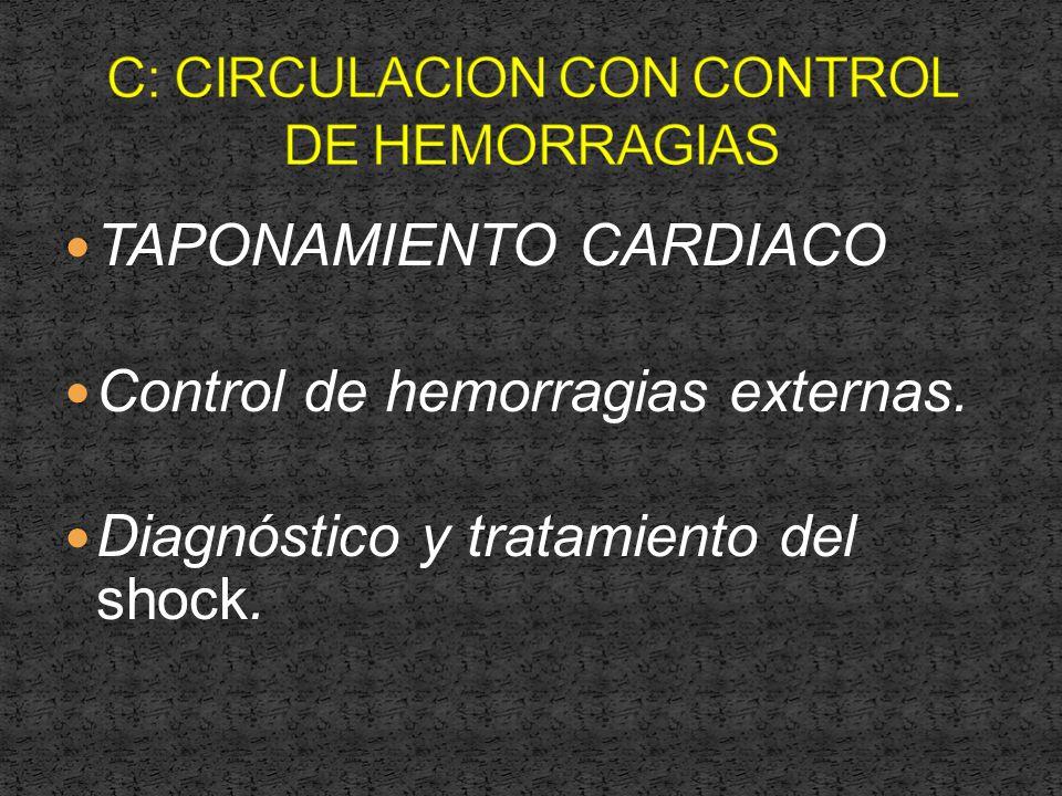 TAPONAMIENTO CARDIACO Control de hemorragias externas. Diagnóstico y tratamiento del shock.