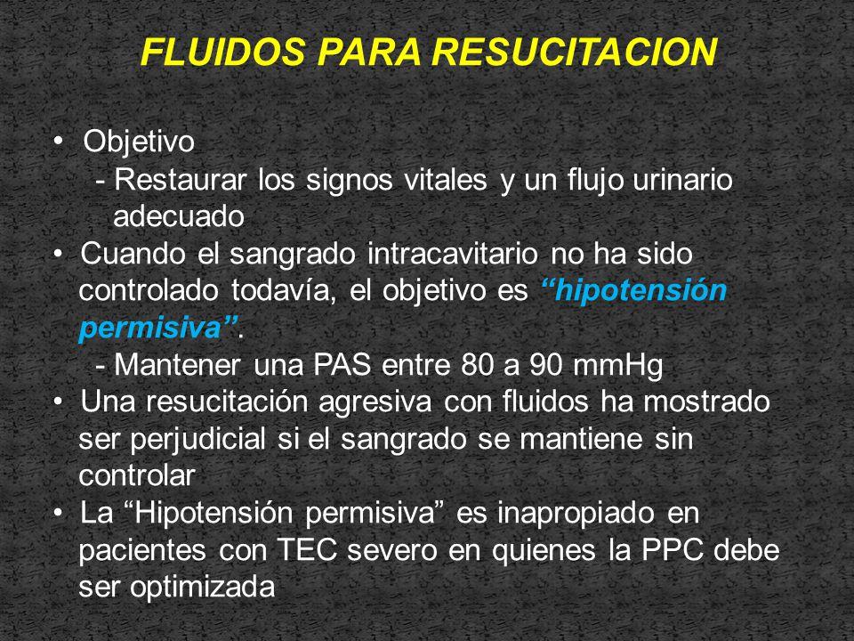 FLUIDOS PARA RESUCITACION Objetivo - Restaurar los signos vitales y un flujo urinario adecuado Cuando el sangrado intracavitario no ha sido controlado todavía, el objetivo es hipotensión permisiva.