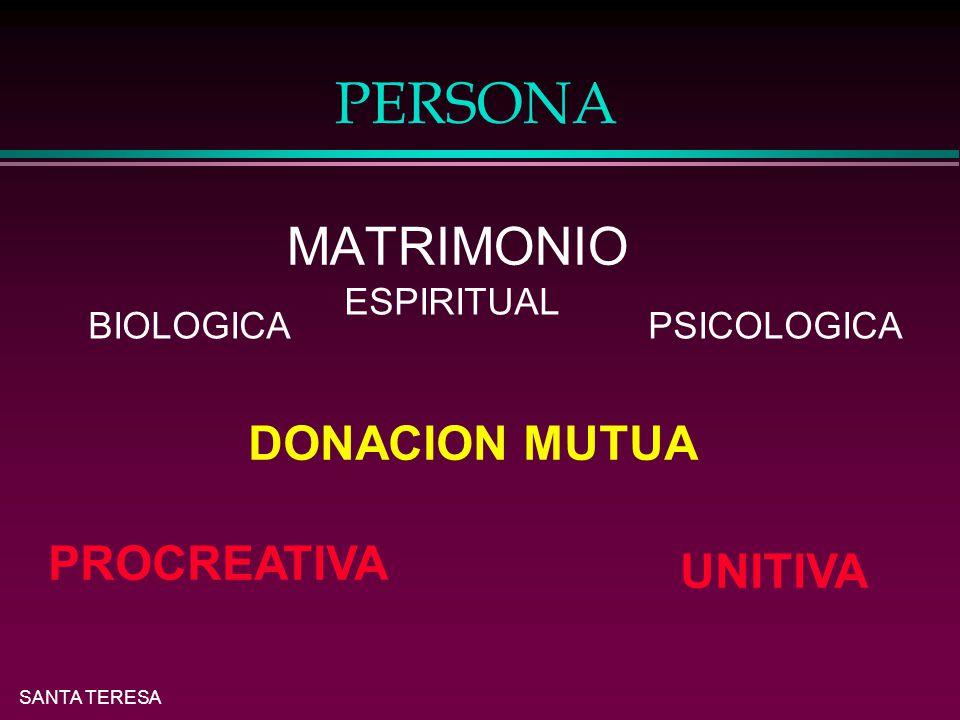 SANTA TERESA PERSONA l MATRIMONIO BIOLOGICA ESPIRITUAL PSICOLOGICA DONACION MUTUA PROCREATIVA UNITIVA