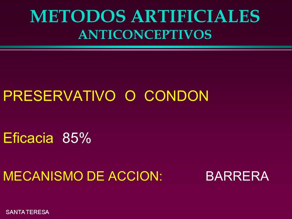 SANTA TERESA METODOS ARTIFICIALES ANTICONCEPTIVOS PRESERVATIVO O CONDON Eficacia 85% MECANISMO DE ACCION: BARRERA