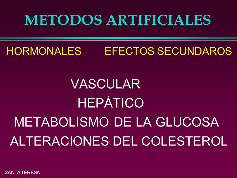 SANTA TERESA METODOS ARTIFICIALES HORMONALES EFECTOS SECUNDAROS VASCULAR HEPÁTICO METABOLISMO DE LA GLUCOSA ALTERACIONES DEL COLESTEROL