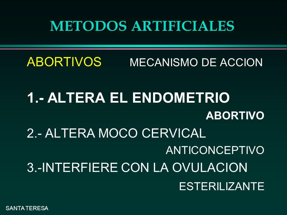SANTA TERESA METODOS ARTIFICIALES ABORTIVOS MECANISMO DE ACCION 1.- ALTERA EL ENDOMETRIO ABORTIVO 2.- ALTERA MOCO CERVICAL ANTICONCEPTIVO 3.-INTERFIERE CON LA OVULACION ESTERILIZANTE