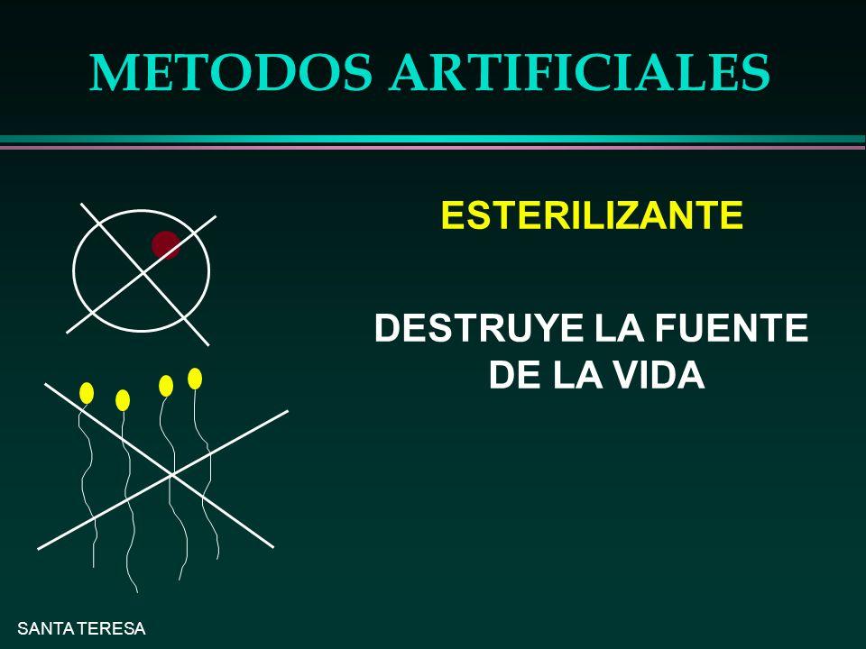 SANTA TERESA METODOS ARTIFICIALES ESTERILIZANTE DESTRUYE LA FUENTE DE LA VIDA