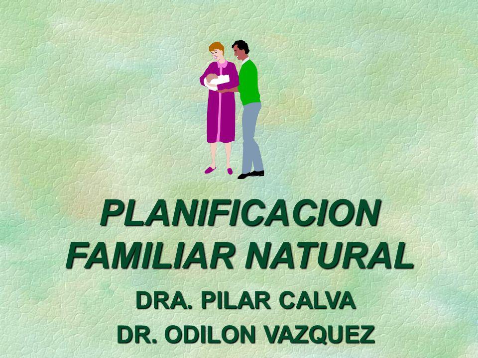 PLANIFICACION FAMILIAR NATURAL DRA. PILAR CALVA DR. ODILON VAZQUEZ