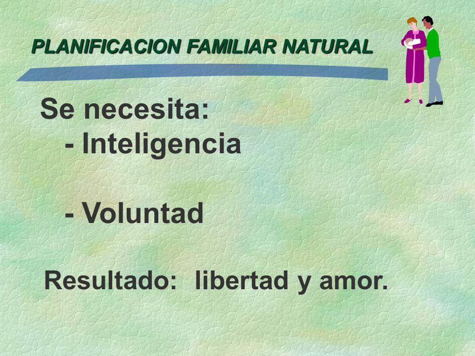 PLANIFICACION FAMILIAR NATURAL Se necesita: - Inteligencia - Voluntad Resultado: libertad y amor.