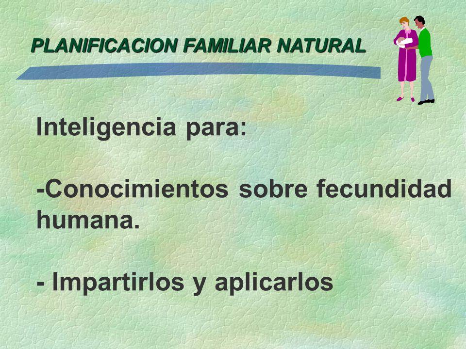 PLANIFICACION FAMILIAR NATURAL Inteligencia para: -Conocimientos sobre fecundidad humana. - Impartirlos y aplicarlos