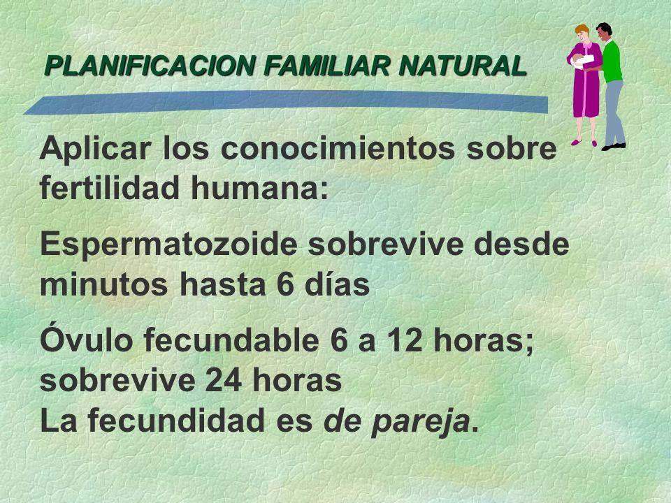 PLANIFICACION FAMILIAR NATURAL Aplicar los conocimientos sobre fertilidad humana: Espermatozoide sobrevive desde minutos hasta 6 días Óvulo fecundable
