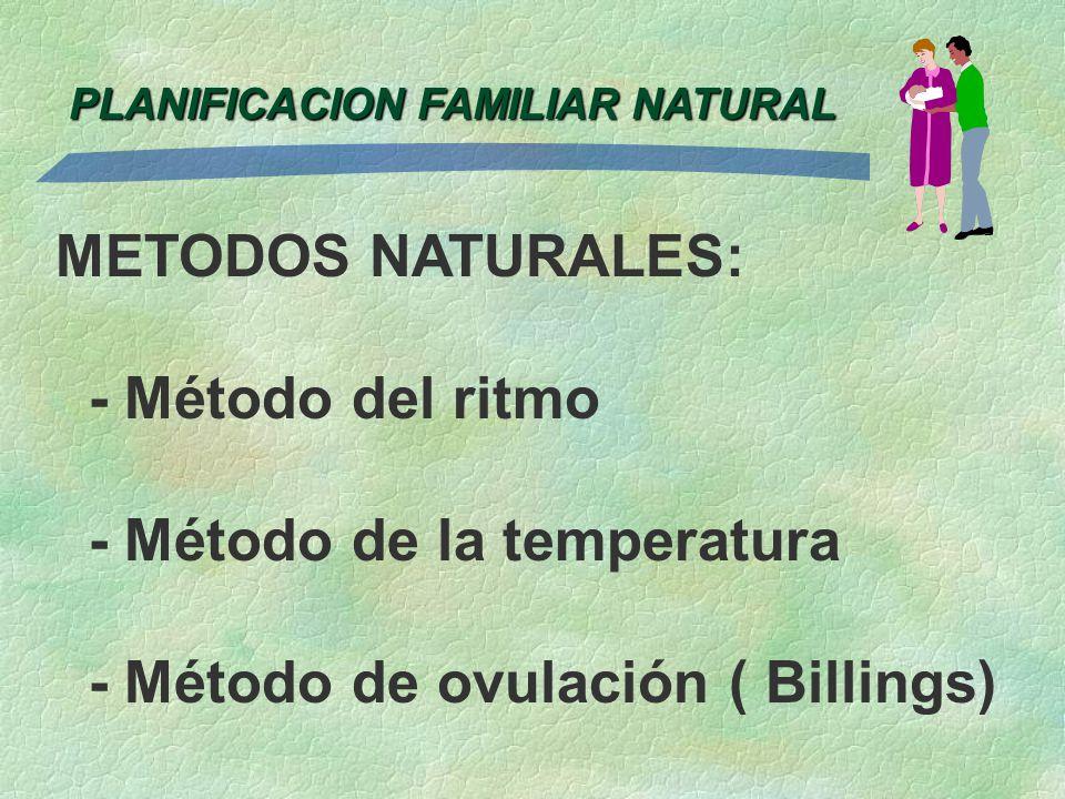 PLANIFICACION FAMILIAR NATURAL METODOS NATURALES: - Método del ritmo - Método de la temperatura - Método de ovulación ( Billings)